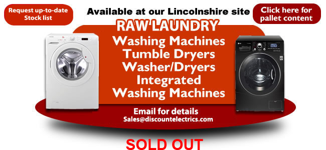 raw washing machine tumble dryer pallet load